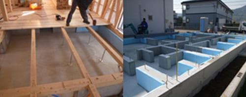 基礎断熱工法と杉下地材による、床面断熱+吸放湿構造